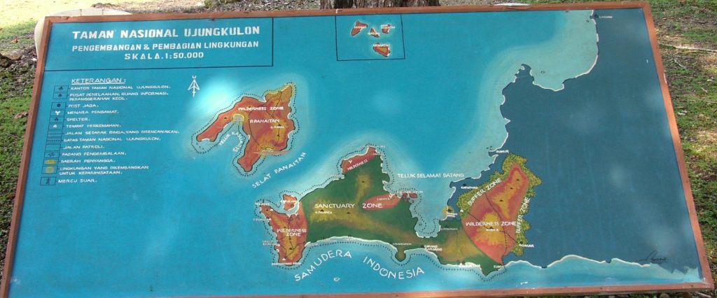 Map if Ujung Kulon National Park in Indonesia, where a small fragmented population of Javan rhinos can be found.
