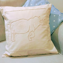 Embroidered Rhino Cushion Cover