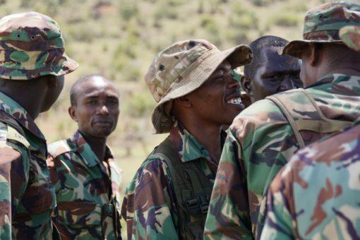 Rangers smiling during drill training at Borana Conservancy, Kenya.