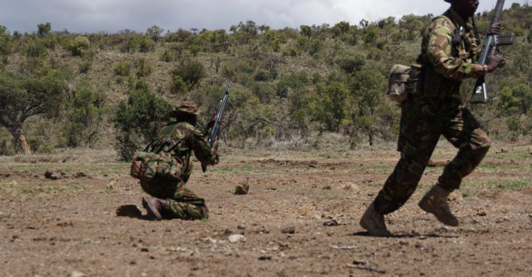 Rangers perform a live fire drill in Borana Conservancy, Kenya.