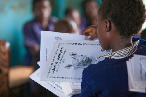 Child at school in Zambia learning about Lolesha Luangwa