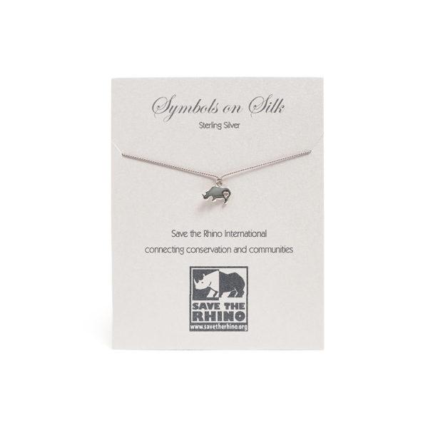 Rhino Necklace on Silk