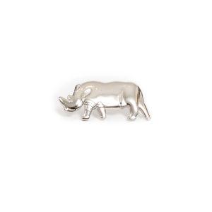 Silver rhino pin badge