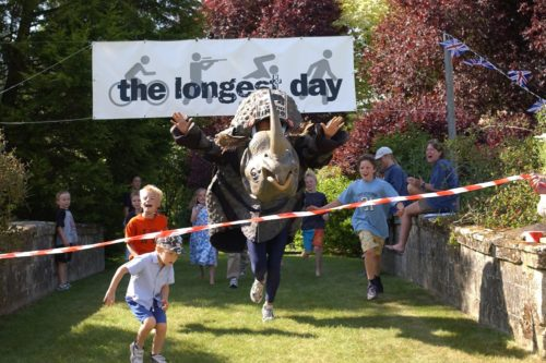 Rhino costume crosses race finish line