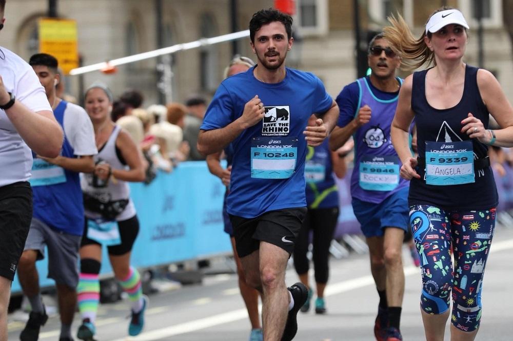 Rhino runner en route at the London 10K