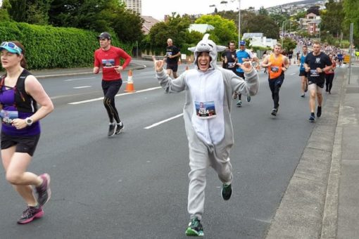 Bonnie Davies celebrating another marathon for rhinos