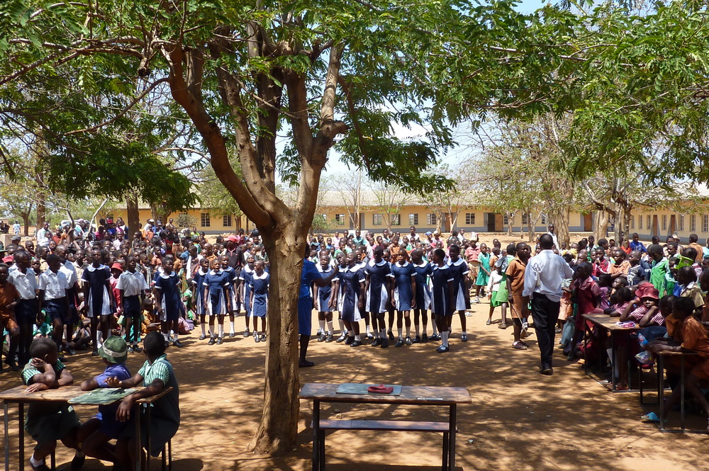 School children gathered in Zimbabwe
