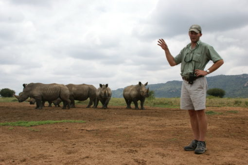 Jamie with white rhinos
