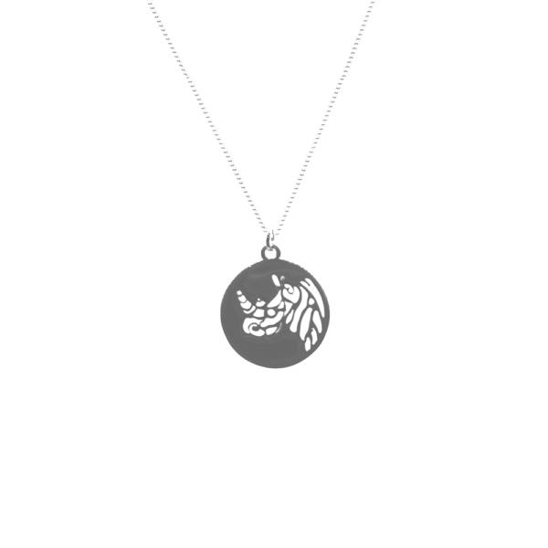 Rhino Disc Necklace Silver
