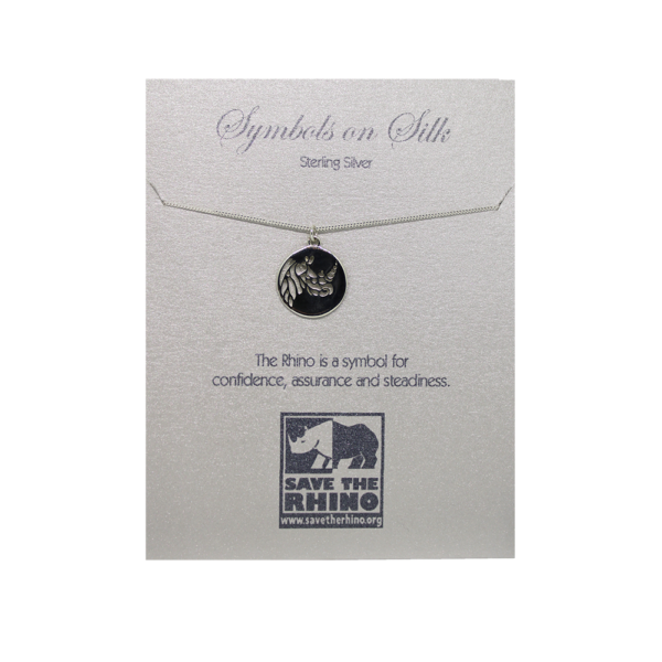 Rhino Disc Necklace with backing.