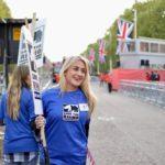 London Marathon volunteers with picket signs