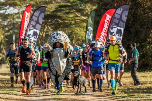 Rhino costume runner at the start line of an ultramrathon