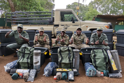 Rangers at Hluhluwe-iMfolozi with new camping kits