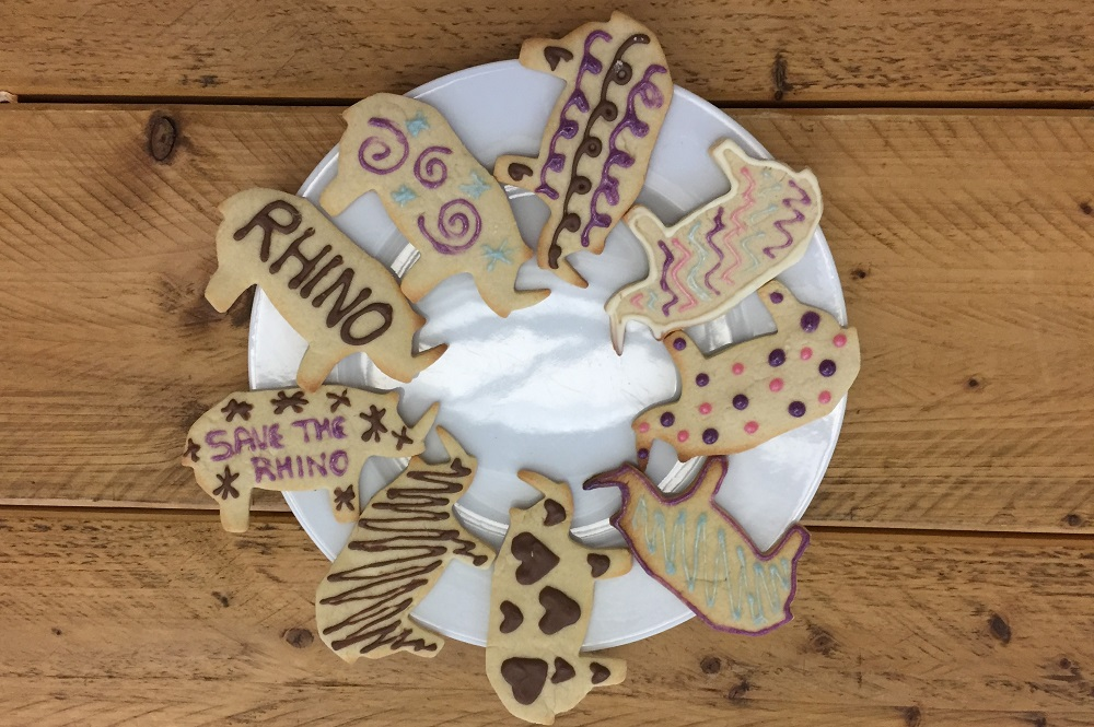 Rhino shaped cookies on a plate