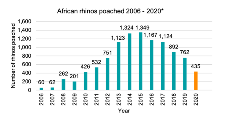 Rhino poaching numbers 2006-2020
