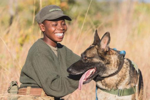 Female handler and dog