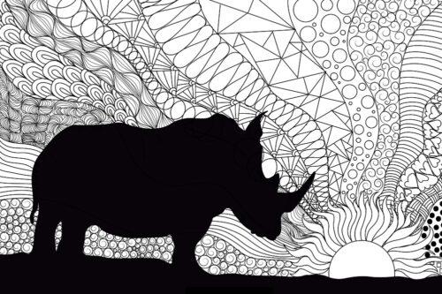 Rinito Con Solecito mandala rhino colouring pattern
