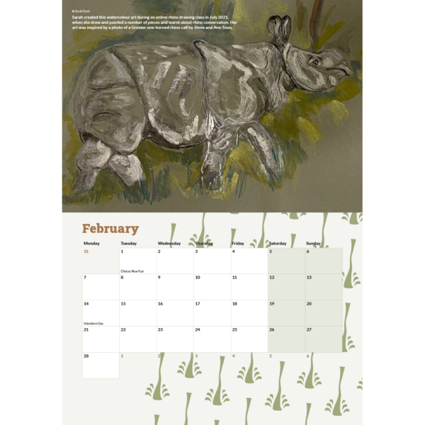 The February 2022 page from the calendar showing the calendar's layout including a painting of a greater-one horned rhino.