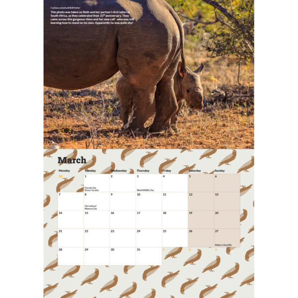 The March 2022 page from the calendar showing the calendar's layout including a photograph of a white rhino calf standing behind its mother.
