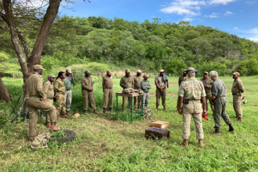 Rangers together in a field for training