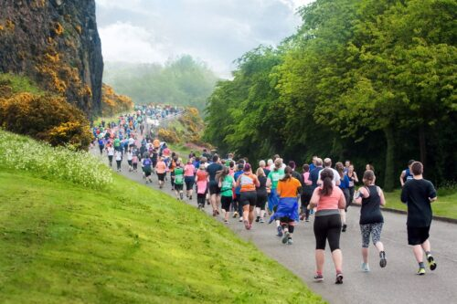 Runners at the Edinburgh marathon