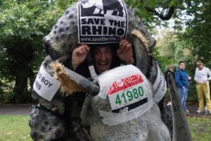 Chris Green in rhino costume