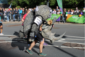 Rhino Mike in the 2021 London Marathon